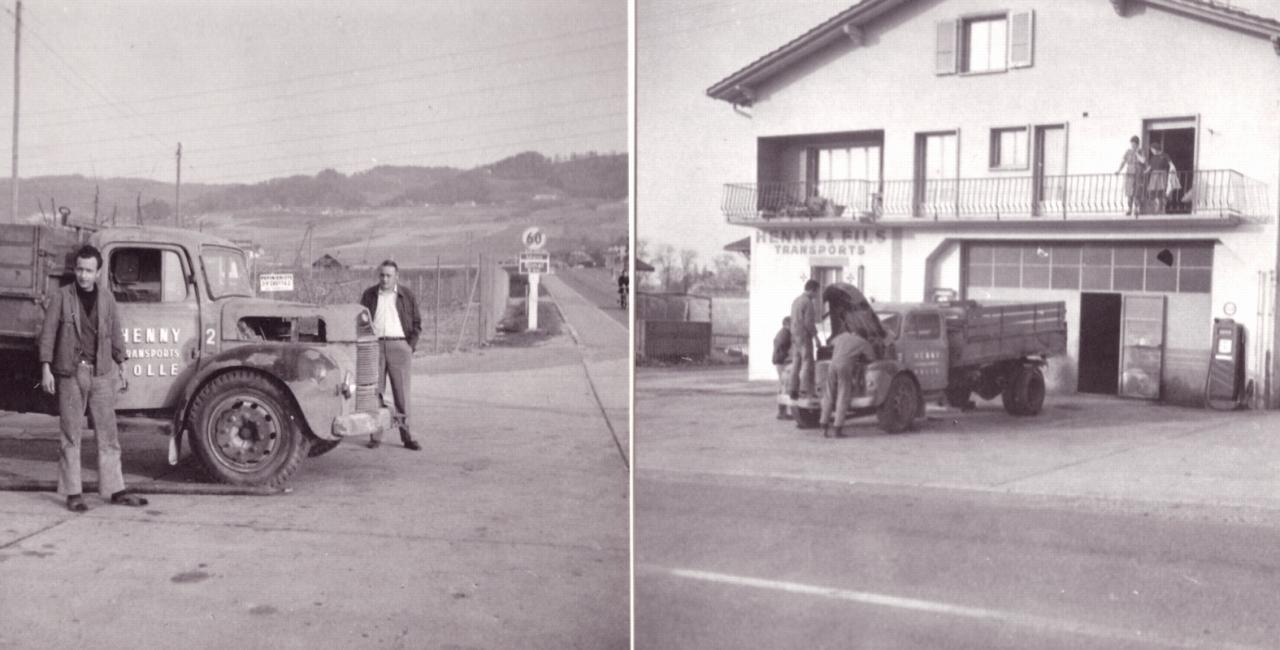 Un camion en réparation , vers 1965